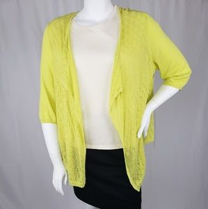 Womens Investments yellow sweater with 2/3 sleeves